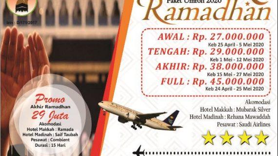 "Paket Umroh Ramadhan 2020 Jadwal Promo dan Biaya<span class=""rating-result after_title mr-filter rating-result-208""><span class=""mr-star-rating"">    <i class=""fa fa-star mr-star-full""></i>        <i class=""fa fa-star mr-star-full""></i>        <i class=""fa fa-star mr-star-full""></i>        <i class=""fa fa-star mr-star-full""></i>        <i class=""fa fa-star mr-star-full""></i>    </span><span class=""star-result"">4.92/5</span><span class=""count"">(12)</span></span>"